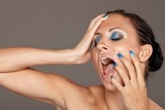 Blue makeup Stock Photography