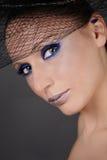 Blue makeup. Close-up portrait of beautiful girl with fancy blue makeup Stock Photos