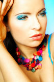 Blue Makeup. Portrait of attractive beautiful young sexy woman with blue makeup Royalty Free Stock Photos