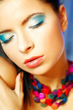 Blue Makeup. Portrait of attractive beautiful young sexy woman with blue makeup Royalty Free Stock Images