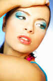 Blue Makeup. Portrait of attractive beautiful young sexy woman with blue makeup Royalty Free Stock Photography