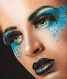 Blue makeup Royalty Free Stock Photography