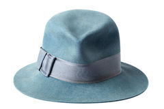 Blue male felt hat isolated on white Royalty Free Stock Photo