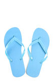 Blue male flip flops over white Royalty Free Stock Photography