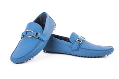 Blue male leather loafers pair isolated on white background Royalty Free Stock Photography