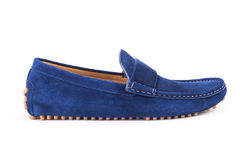 Blue male leather loafers pair isolated on white background Stock Image