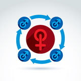 Blue male and red female signs connected with arrows, gender sym Royalty Free Stock Photo