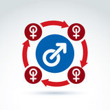 Blue male and red female signs connected with arrows Royalty Free Stock Photography
