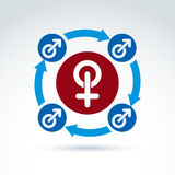 Blue male and red female signs, gender symbols Stock Photo