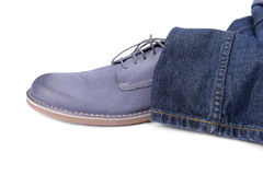 Blue male shoe Stock Images
