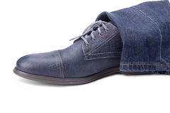 Blue male shoe Royalty Free Stock Photography