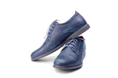 Blue male shoes Royalty Free Stock Image