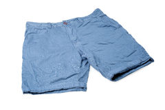 Blue male shorts isolated on white Royalty Free Stock Images