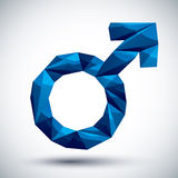 Blue male sign geometric icon made in 3d modern style, best for Royalty Free Stock Photo