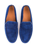 Blue male suede leather loafers pair isolated on white backgroun Stock Images