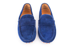 Blue male suede leather loafers pair isolated on white backgroun Royalty Free Stock Photo