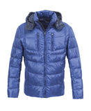 Blue male winter jacket. Isolated on white background Royalty Free Stock Images