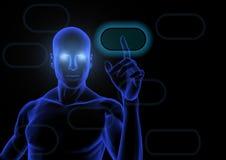 Blue man. Humanoid touching a blue virtual screen Stock Photo