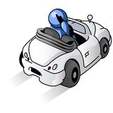 Blue man cartoon driving car Royalty Free Stock Images