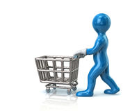 Blue man and empty shopping cart Stock Photography