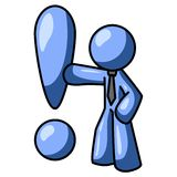 Blue man and exclamation mark. An illustration of a blue man in a tie, placing a hand on a large exclamation mark and leaning on it. Part of the blue man series Stock Photography