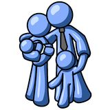 Blue man family illustration Stock Images
