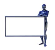 Blue man figure and white board. Chrome man and blank white board on white background - 3d illustration Royalty Free Stock Image