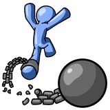 Blue man free from ball chain Royalty Free Stock Photo