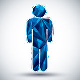 Blue man geometric icon made in 3d modern style, best for use as Stock Image