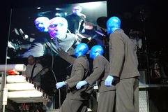 Blue man group performance Royalty Free Stock Photography
