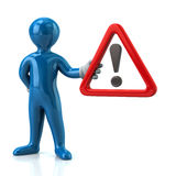 Blue man hholding warning attention sign with exclamation mark. Cartoon blue man character holding  warning attention sign with exclamation mark Royalty Free Stock Photography