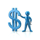 Blue man holding dollar sign. Blue cartoon character man holding dollar sign 3d illustration Royalty Free Stock Image