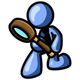 Blue man with magnifying glass Stock Photo
