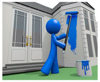 Blue Man Painting His House with Paint Roller. Blue man painting his house, 3d Stock Photography