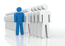 Blue man in queue Royalty Free Stock Photos