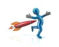 Blue man and rocket. 3d illustration on white background Royalty Free Stock Image