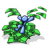 Blue man sitting in cash. An illustration of a blue man, sitting on top of a pile of cash and throwing some of the money up in the air Royalty Free Stock Images