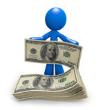 Blue Man with Stack of 100 Dollar Bills. Blue man with a stack of one hundred dollar bills, newfound wealth Stock Image