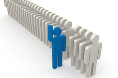 Blue man stand out of a line of queue Royalty Free Stock Photos