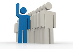 Blue man stand out of a line of queue Royalty Free Stock Photography