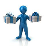 Blue man and two gifts boxes Stock Photo