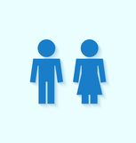 Blue man and woman icons for toilet or restroom Royalty Free Stock Photography