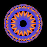 Blue Mandala. A circular fractal done in shades of blue orange and yellow floating on a black background Stock Photos