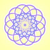Blue Mandala. An abstract illustration done in shades of yellow, blue, and purple Royalty Free Stock Image
