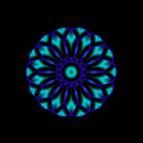 Blue Mandala. A mandala shaped fractal done in shades of blue Stock Image