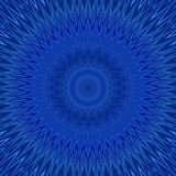 Blue mandala explosion fractal background - round symmetric vector pattern design from curved stars Stock Image