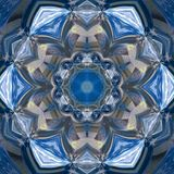 Blue floral mandala gzhel effect, kaleidoscope fresh colors royalty free stock image