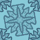 Blue mandala ornament symmetry seamless background. Decorative round ornament for colouring anti-stress therapy. Fabric Stock Images