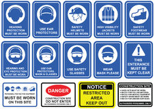 Blue mandatory set of safety equipment signs in white pictogram. On blue background. Wear personal protective equipment , rules and regulations on construction stock illustration