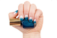 Blue manicure Royalty Free Stock Image